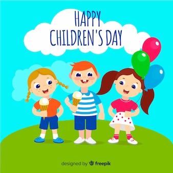 手描きの丘の子供の日の背景