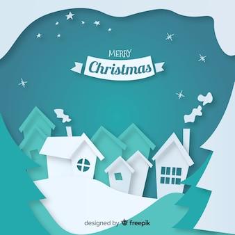 ペーパー・アート・スタイルの素敵なクリスマス・タウン