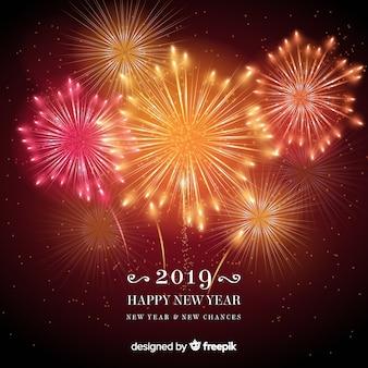 暖かい音の花火の新年の背景