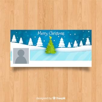 凍った湖のクリスマスのフェイスブックカバー