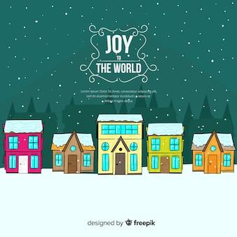 素敵な手描きのクリスマスタウン