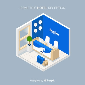 モダンなホテルレセプション、等角図