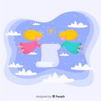 Рождественский фон с ангелами