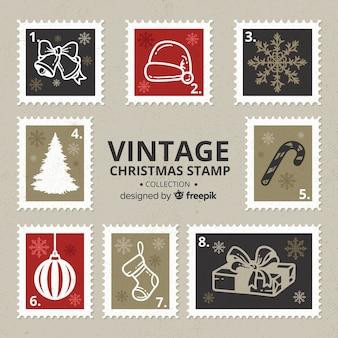 ヴィンテージクリスマスの切手のコレクション