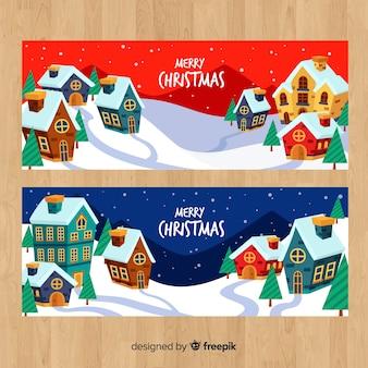 手描きの家クリスマスの町のバナー