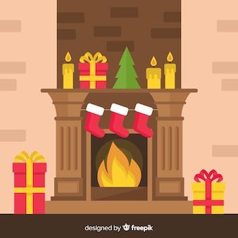 フラットクリスマス暖炉のシーン