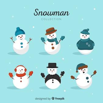 フラットデザインのかわいい雪だるまキャラクターコレクション