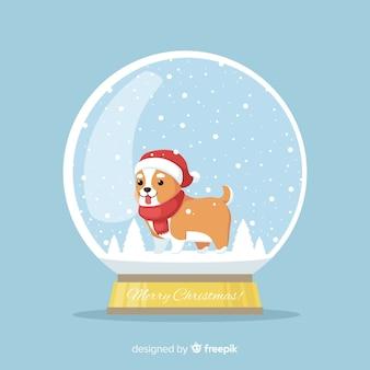 犬のクリスマススノーボール