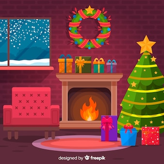 フラットなアームチェアクリスマス暖炉のシーン