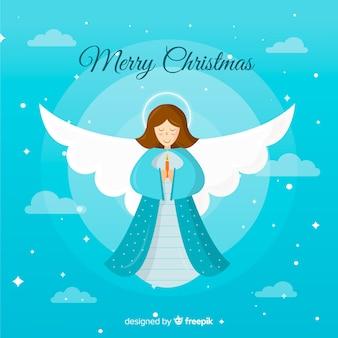 Лечение рождественский ангел фон в плоском дизайне