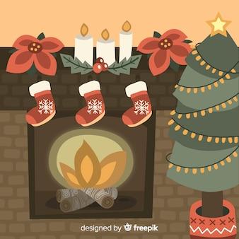 手描きの火のクリスマスの暖炉のシーン