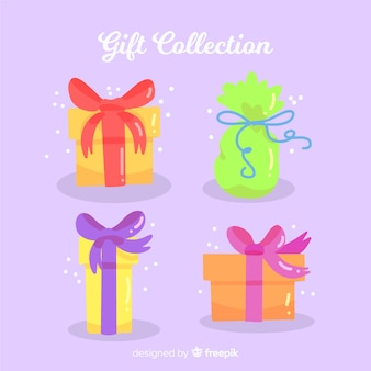 フラットデザインのカラフルなクリスマスギフトボックスコレクション