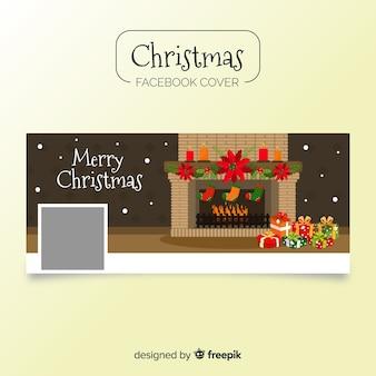 暖炉のクリスマスのフェイスブックカバー