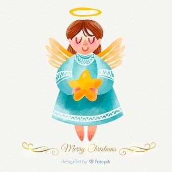 水彩クリスマス天使の背景