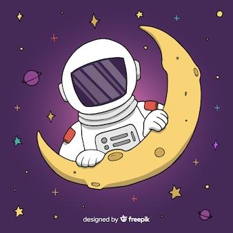 月の背景に宇宙飛行士