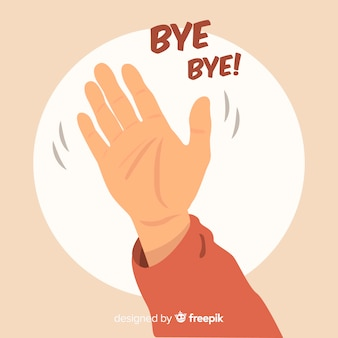 Рука обращается прощай волнистый фон