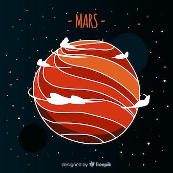 手描きの火星の背景