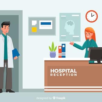 フラットデザインによる病院の受付