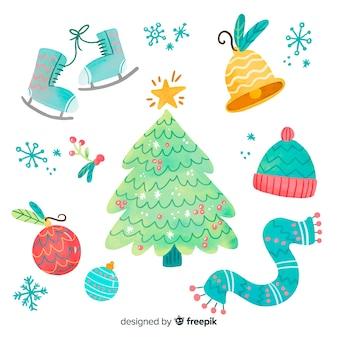 クリスマスの手描きの要素