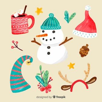 クリスマスの水彩要素