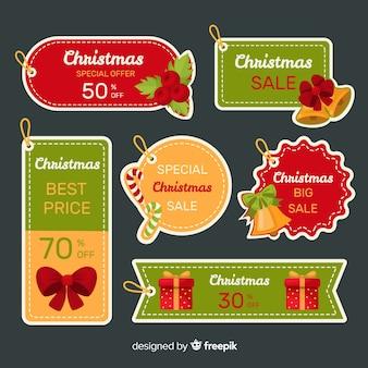 フラットクリスマスセールラベルコレクション