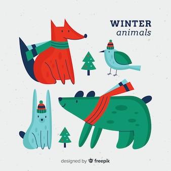 手描きの冬の動物コレクション