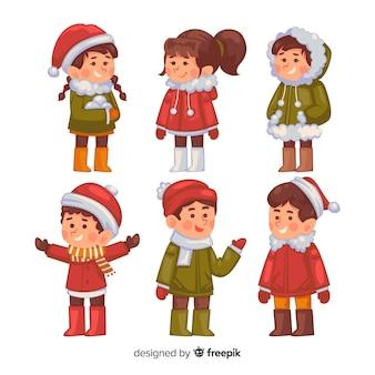 手描きの冬の子供たち
