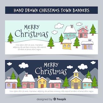 手描きのクリスマスタウンのバナーのテンプレート
