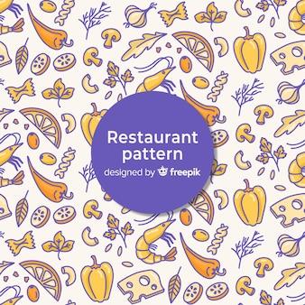 素敵な手描きのレストランパターン