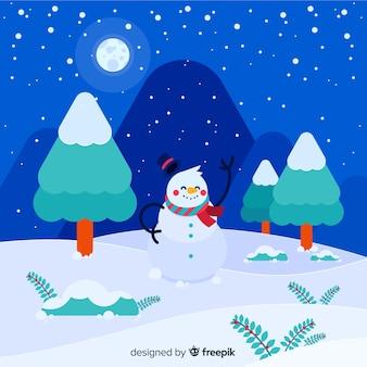 雪だるまの冬の背景を振る