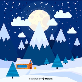 大きな月の冬の風景の背景