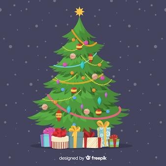 手描きのカラフルなクリスマスツリー図