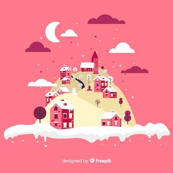 冬の町の島のイラスト