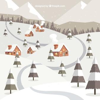 長い道の冬の背景