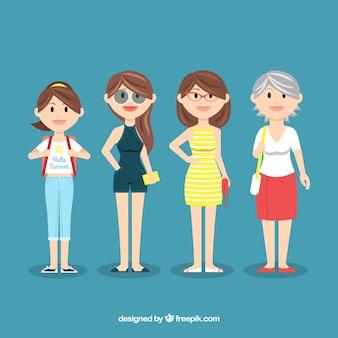 モダンな女性の素敵なグループ