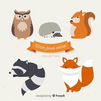 Коллекция зимних лесных животных