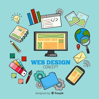 素敵な手描きのウェブデザインの組成