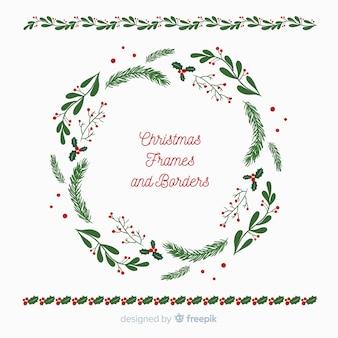 クリスマスフラットリースとフレーム