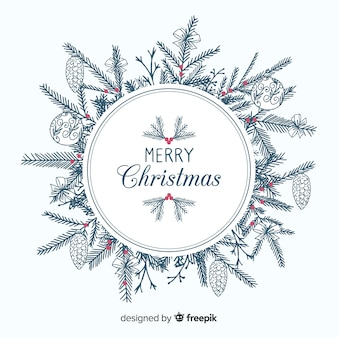 手描きの木の枝クリスマスの背景