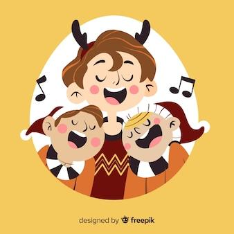クリスマスのイラストを歌う人々