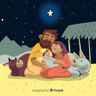 眠っている神聖な家族のクリスマスのイラスト