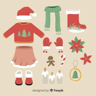 冬の服とクリスマスの装飾