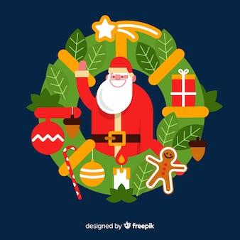 サンタを抱きしめてクリスマスの花輪のイラスト