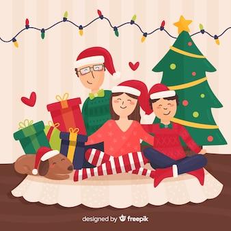 ハッピーファミリーのクリスマスイラスト