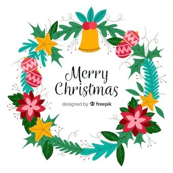 カラフルなクリスマスの花輪