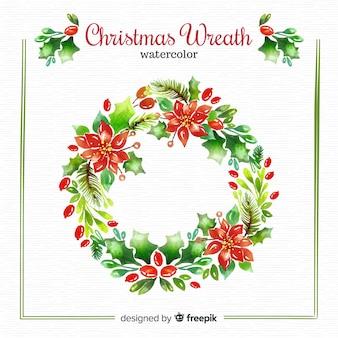 水彩クリスマスの花輪の背景