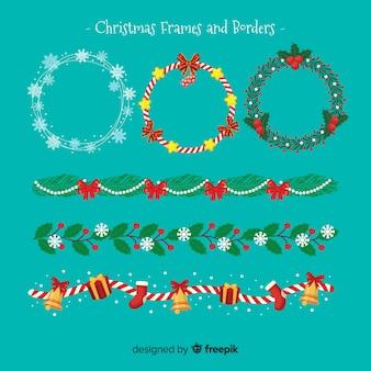 フラットクリスマスフレームとボーダーパック