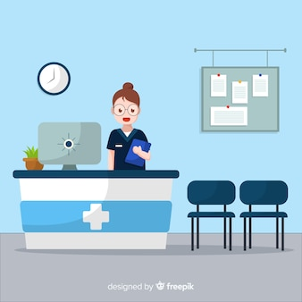 立っている看護婦の病院の受付の背景