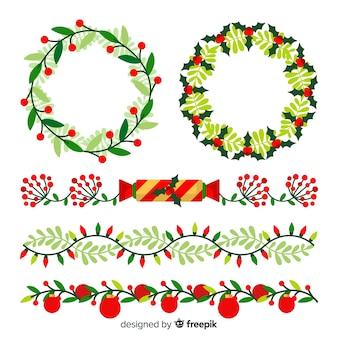 Рождественские плоские бордюры и венки