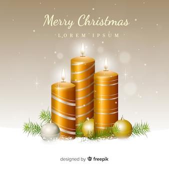 Реалистичные золотые свечи рождественский фон